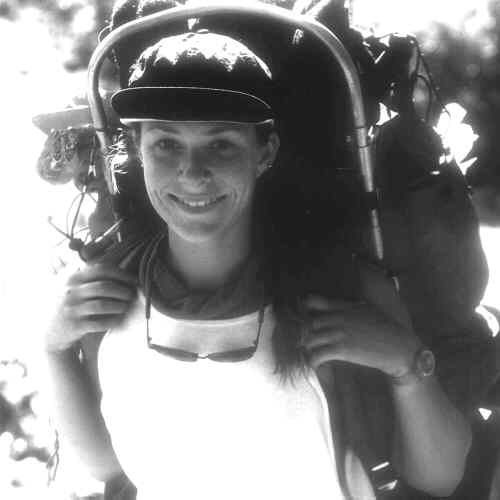 B&W Karen with backpack